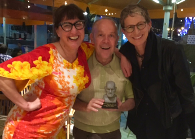 Peter Fuller and Victoria Price celebrate their Rondo Best Fan win with Jenny Hammerton of Silve Screen Suppers