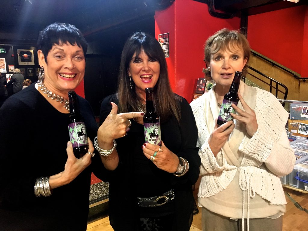 Hammer's leading ladies Martine Beswick, Caroline Munro and Madeline Smith give their best cover girl pose with bottles of Black Cat VPA